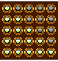 Steam punk game web rating hearts set vector