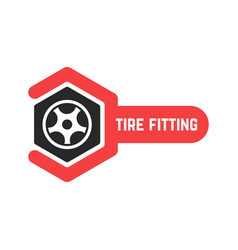 tire fitting logo with wrench vector image