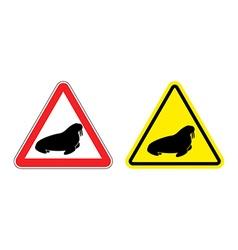 Warning sign attention walrus hazard yellow sign vector