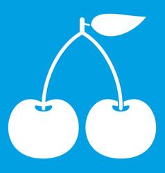 cherry icon white vector image