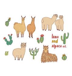 cute lama alpaca and cactuses set hand drawn vector image vector image