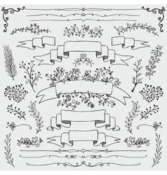 Hand drawn floral design elements vector