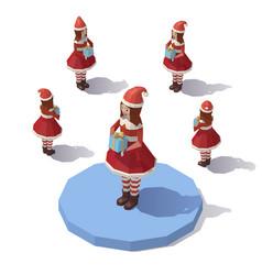 low poly christmas girl vector image vector image