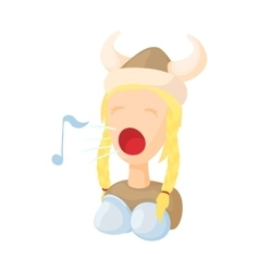 Opera singer icon in cartoon style vector image