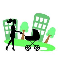 silhouette of a woman with a baby carriage vector image