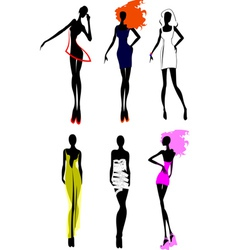 six fashion girls vector image vector image