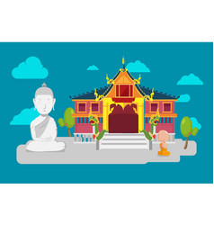 thai temple flat culture background vector image vector image