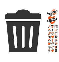 Trash can icon with love bonus vector