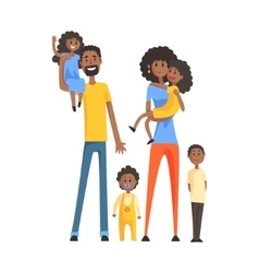 Big Family With Parents And Four KidsPart Of vector image vector image
