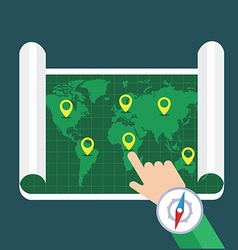 Hand showing location on map Flat map with vector image