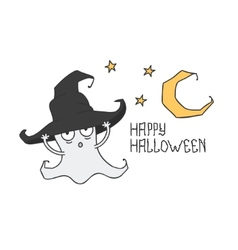 Happy Halloween Ghost in the witchs hat Trick or vector image