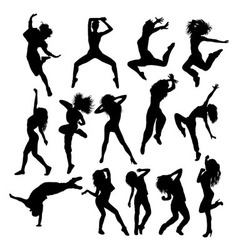 Happy Hip Hop Silhouettes vector image vector image