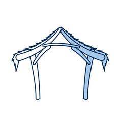 manger hut wooden decoration nativity outline vector image vector image