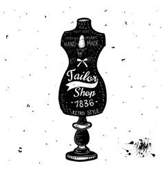 Vintage Sewing Kit Label Design - hand drawn vector image vector image