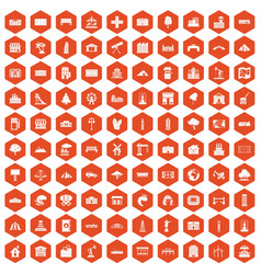 100 landscape element icons hexagon orange vector