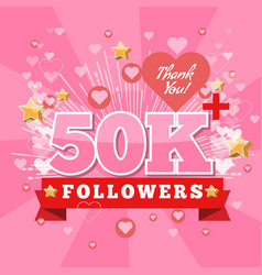 50k followers and thank you banner background with vector image