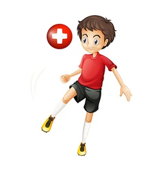 A player using the ball from Switzerland vector image