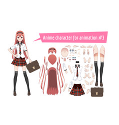 anime manga schoolgirl in a red tartan skirt vector image