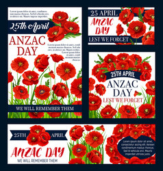 anzac day australian lest we forget posters vector image