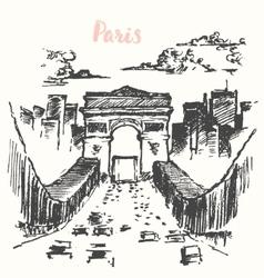 Arch triumph paris vintage drawn vector