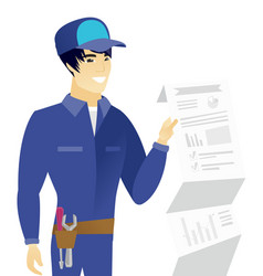 Asian mechanic showing document with presentation vector