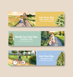 Banner template with world car free day concept vector
