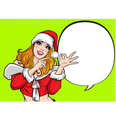beautiful santa woman pointing something and hand vector image