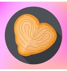Bread heart shape flat vector