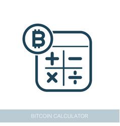 Calculator with bitcoin sign icon vector