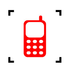 cell phone sign red icon inside black vector image