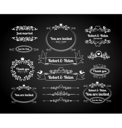 Chalkboard calligraphic frames page dividers vector