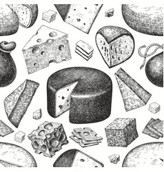 Cheese seamless pattern hand drawn dairy vector