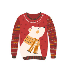 comfortable red handmade christmas sweater with vector image