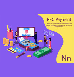 contactless payment concept for web page document vector image