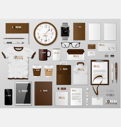 corporate branding identity template brown design vector image