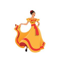 Dancer lady in tobasco dress mexican cartoon woman vector