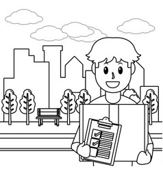 delivery service cartoon in black and white vector image