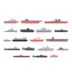 Different types naval combat ships set vector