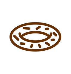 Donut line icon sign for production of bread and vector
