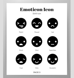 Emoticon icons solid pack vector