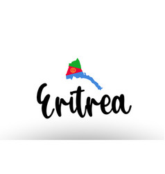 Eritrea country big text with flag inside map vector