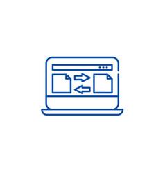 file transfer line icon concept file transfer vector image