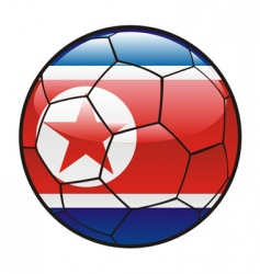 flag of north Korea on soccer ball vector image