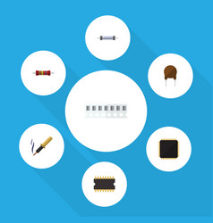 flat icon technology set of repair resistor cpu vector image