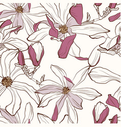 floral pattern with image a magnolia flowers vector image