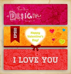Floral Valentines Banner Set vector