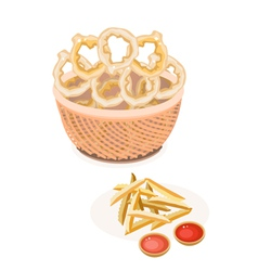 French Fries and Onion Ring in A Brown Basket vector image vector image