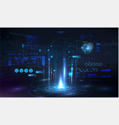 Futuristic portal circle podium template vector
