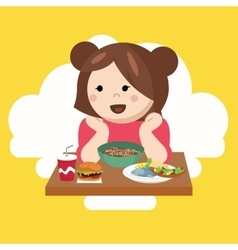 girl kids child cute happy eating food vector image
