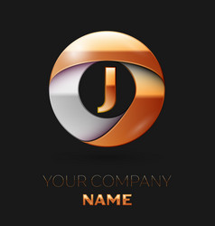 Golden letter j logo in the golden-silver circle vector